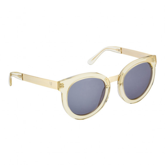 Elsa Lee Paris vintage sunglasses, round transparent plastic frame, with gold tone symbol on temples