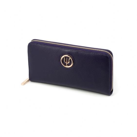 Compagnon Extra Elsa Lee Paris, portefeuille en cuir violet, multiples rangements pour cartes, billets et pièces de monnaie