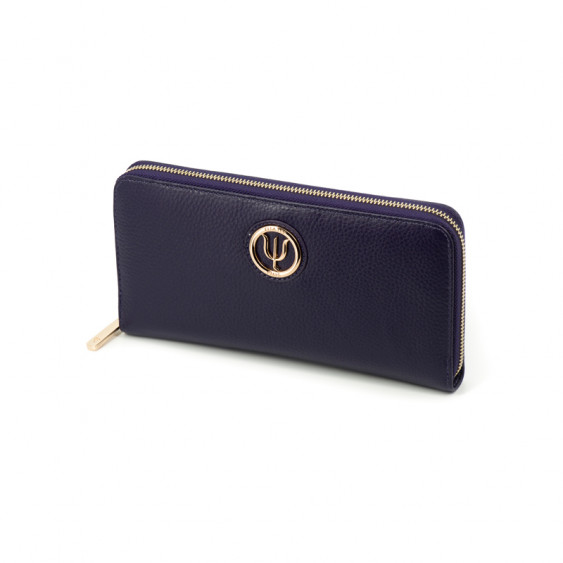 Extra companion by Elsa Lee Paris, purple leather wallet with fabric interior 23,5x12cm