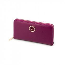 Compagnon Extra Elsa Lee Paris, portefeuille en cuir rose, multiples rangements pour cartes, billets et pièces de monnaie