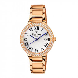Elsa Lee Paris watch for women, with gold tone steel strap, gold tone case filled with Cubic Zirconia