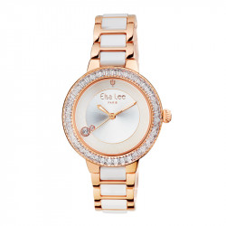 Elsa Lee Paris watch with a steel and ceramic strap, gold tone case with clear Cubic Zirconia