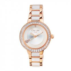 Montre Classique Elsa Lee Paris dorée, bracelet acier et céramique, cadran dorée avec lunette incrustée d'oxydes de Zirconium