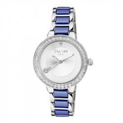 Montre Classique Elsa Lee Paris argentéé, bracelet acier et céramique, cadran avec lunette incrustée d'oxydes de Zirconium