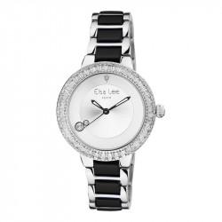Montre Classique Elsa Lee Paris argentée et noire, bracelet acier et céramique, oxydes de Zirconium sur lunette