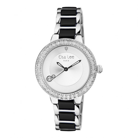 Elsa Lee Paris watch with a steel and ceramic strap, silver case with clear Cubic Zirconia