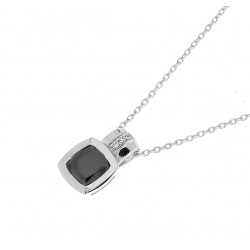 Elsa Lee Paris - 925 Silver sterling and rhodium coated necklace with a cubic zirconia, square shaped