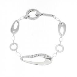 Bracelet Elsa Lee Paris en Argent 925, modèle gouttes d'eau avec oxydes de Zirconium incrustés sur l'un des maillons