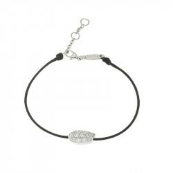 Bracelet Elsa Lee Paris, modèle Feuille avec oxydes de Zirconium sur cordon en coton noir