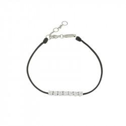Bracelet Elsa Lee Paris, modèle ligne, avec oxydes de Zirconium sur cordon en coton noir