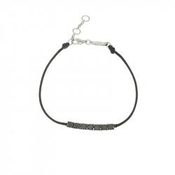 Bracelet Elsa Lee Paris, modèle ligne, avec oxydes de Zirconium noirs sur cordon en coton noir