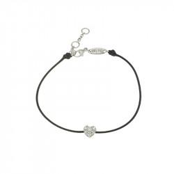 Bracelet Elsa Lee Paris, modèle petit coeur, avec oxydes de Zirconium sur cordon double en coton noir