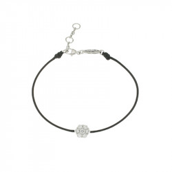 Bracelet Elsa Lee Paris, modèle diamant, avec oxydes de Zirconium sur cordon en coton noir