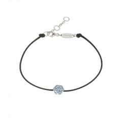 Bracelet Elsa Lee Paris, modèle diamant, avec oxydes de Zirconium bleus sur cordon en coton noir