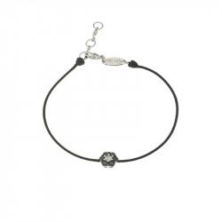 Bracelet Elsa Lee Paris, modèle diamant, avec oxydes de Zirconium noirs sur cordon en coton noir