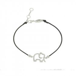 Bracelet Elsa Lee Paris, modèle éléphant, avec oxydes de Zirconium sur cordon en coton noir