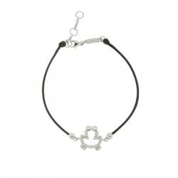Bracelet Elsa Lee Paris, modèle grenuille, avec oxydes de Zirconium sur cordon en coton noir