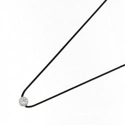 Collier Rond Elsa Lee Paris, oxyde de Zirconium serti clos sur cordon ciré noir