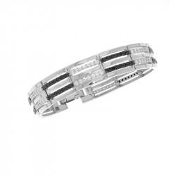 Bracelet belle de nuit en Argent 925 avec oxydes de Zirconium blancs et noirs