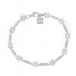 Bracelet Elsa Lee Paris, en Argent 925, longueur 18cm avec alternance d'oxydes de Zirconium blancs de différentes tailles