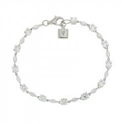 Bracelet Elsa Lee Paris, en Argent 925, longueur 18cm avec alternance d'oxydes de Zirconium blancs tailles princess et navette