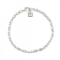 Bracelet Elsa Lee Paris, en Argent 925, longueur 18cm avec alternance d'oxydes de Zirconium blancs taille rectangle