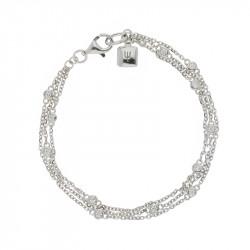 Bracelet Elsa Lee Paris, en Argent 925, trois rangs avec oxydes de Zirconium incolores sertis clos taille brillant sur les chaîn