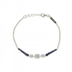 Bracelet Elsa Lee Paris, Argent 925, deux fines lignes de Zirconium bleus et trois oxydes blancs au centre