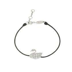 Bracelet Elsa Lee Paris, modèle Cygne avec oxydes de Zirconium sur cordon en coton noir