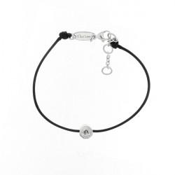 Bracelet Elsa Lee Paris, modèle Dôme, avec oxyde de Zirconium serti griffe sur cordon en coton noir