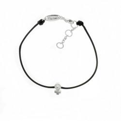 Bracelet Elsa Lee Paris, modèle féminin, avec oxyde de Zirconium serti griffe sur cordon en coton noir