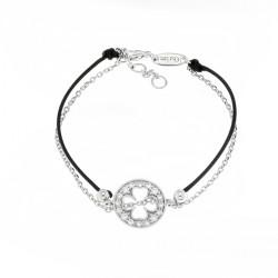 Bracelet Elsa Lee Paris, modèle trèfle, avec oxydes de Zirconium sur cordon en coton noir et chaîne en argent