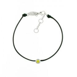 Bracelet Elsa Lee Paris, modèle Novembre avec un oxyde de Zirconium jaune serti griffe sur cordon en coton noir