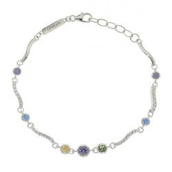 Bracelet Elsa Lee Paris, Argent 925, motif vagues avec oxydes de Zirconium blancs et 7 oxydes de couleurs violets, bleus, vert e