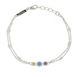 Bracelet Elsa Lee Paris, Argent 925, motif chaine avec oxydes de Zirconium blancs et 3 oxydes de couleurs violet, bleu et jaune