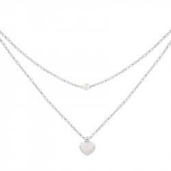 Elsa Lee Paris silver necklace from our Valentine's collection, 2 chains, heart shape pendant with Cubic Zirconia and white pear