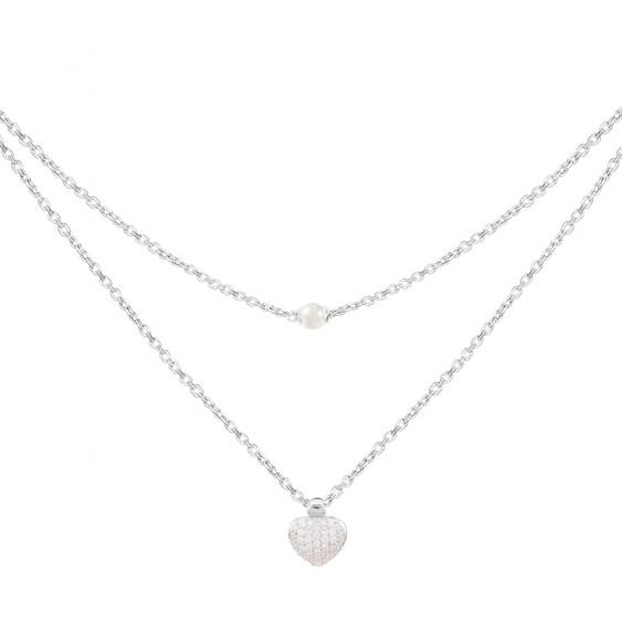 Collier Be my Valentine Elsa Lee, en argent motif coeur pavé d'oxydes de Zirconium et perle blanche sur deux chaines