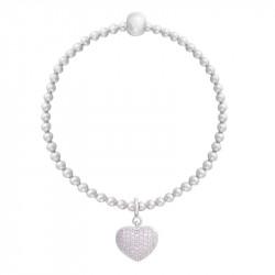 Bracelet Be my Valentine Elsa Lee, en argent motif coeur pavé d'oxydes de Zirconium et perle grise