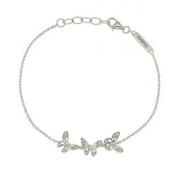Bracelet chaine Elsa Lee Paris, modèle Papillon, avec trois papillons  en argent pavés de Zirconiums