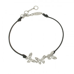 Bracelet Elsa Lee Paris, modèle Papillon, avec trois papillons  en argent pavés de Zirconiums sur cordon noir