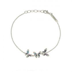 Bracelet chaine Elsa Lee Paris, avec trois papillons en argent pavés de Zirconiums et email bleu et violet