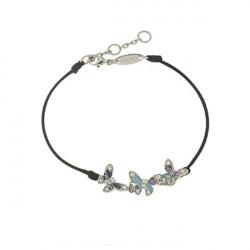 Bracelet Elsa Lee Paris, modèle Papillon, avec trois papillons  en argent pavés de Zirconiums et email sur cordon noir