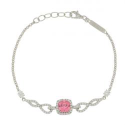 Bracelet Insolite Elsa Lee Paris en Argent 925 pierre rose forme carrée et son contour recouvert de brillants