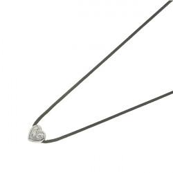 """Collier Lien Elsa Lee Paris en """"Argent 925"""" - un oxyde de Zirconium forme coeur sertis clos sur un cordon noir"""