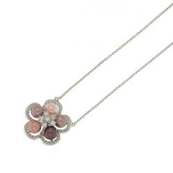 Collier Elsa Lee Paris en Argent 925, motif fleur avec perles mauves, rose clair, rose poudré et bordeaux, avec 66 oxydes de Zir
