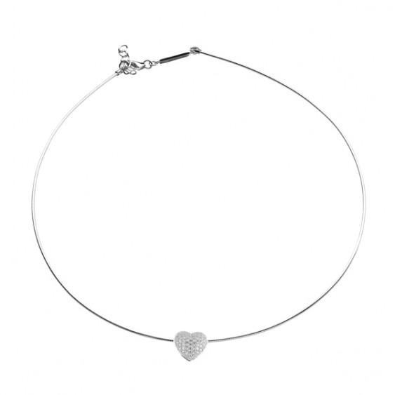 Collier jonc Be my Valentine Elsa Lee, en argent massif et pendentif motif coeur pavé d'oxydes de Zirconium
