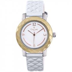Montre Mosaïque Elsa Lee Paris, cadran blanc, bracelet matelassé blanc, boitier couleur or et chiffres arabes