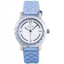 Elsa Lee Paris new 2017 watch, with white dial, blue padded bracelet and arabic numerals