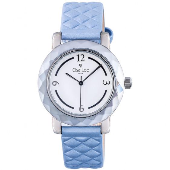 Montre Mosaïque Elsa Lee Paris, cadran blanc, bracelet matelassé bleu, boitier couleur argent et chiffres arabes