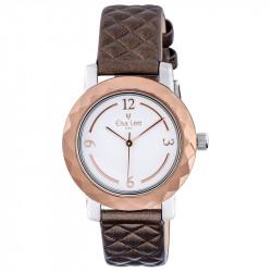 Montre Mosaïque Elsa Lee Paris, cadran blanc, bracelet matelassé marron, boitier couleur or et chiffres arabes